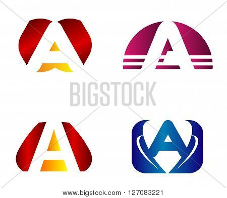 Set of letter A logo icons design template elements. Collection of vector signs