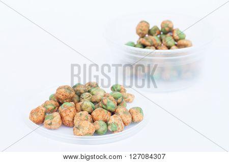 Dry spice peas on white background, stock photo