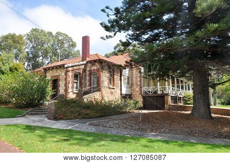 HAMILTON HILL,WA,AUSTRALIA-FEBRUARY 11,2016: Azelia Ley Homestead in Manning Park with manicured lawn and gardens in Hamilton Hill, Western Australia.
