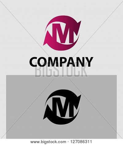 Vector illustration of abstract icons of letter M