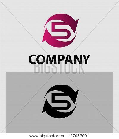Vector sign number 5 logo. Vector logotype design.