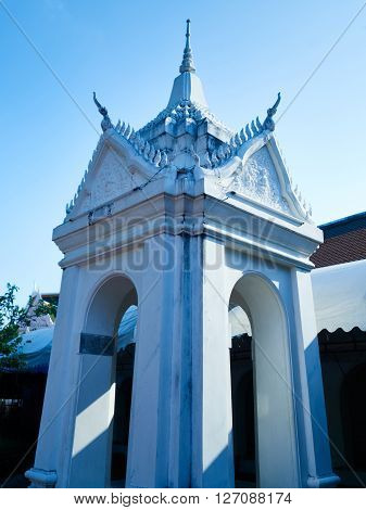 A close up of architecture detail at a temple in Thailand Phra Pathom Chedi