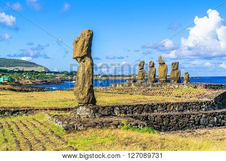 Ahu Tahai and Ahu Vai Uri in Tahat Archeological Complex Easter Island Chile