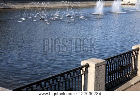 image of many fountain on river at day