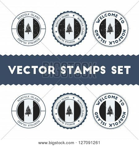 Norfolk Islander Flag Rubber Stamps Set. National Flags Grunge Stamps. Country Round Badges Collecti