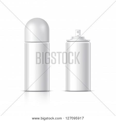 Realistic White Cosmetics bottle can Spray Deodorant Air Freshener. With lid and without. Object shadow and reflection on separate layers. Vector illustration