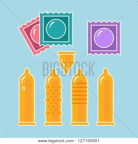 Condoms set and packages - contraception symbols