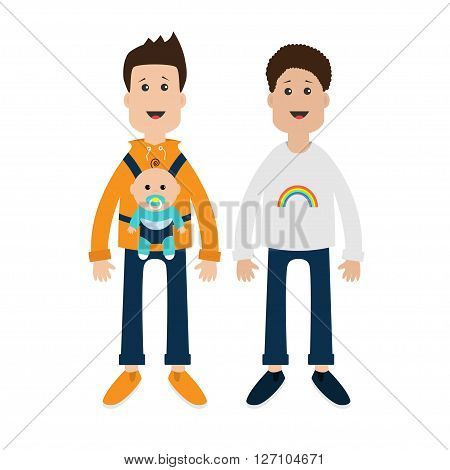 Gay family. Two fathers with baby boy son in baby carrier sling. Male couple. Rainbow on shirt. Love is love. Greeting card. LGBT community. Cute characters. Flat design. Vector illustration.