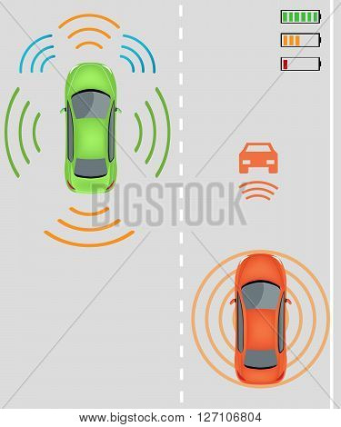 Electric re-charging lane Wireless charging system for electric vehicles. Charge while in motion on smart highway. Smart car wireless charging Electric vehicles on highway. Smart car/ Intelligent vehicle