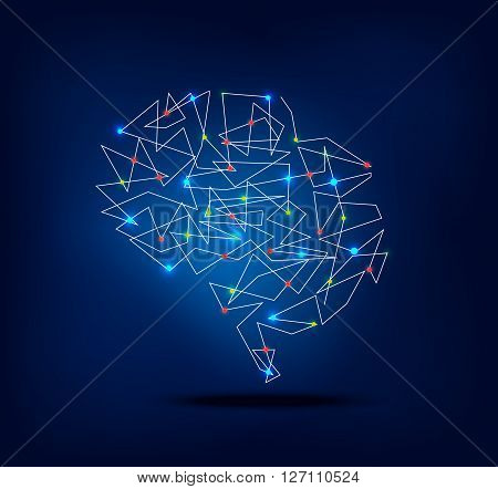 Abstract brain graphic with trace and spot lights activity