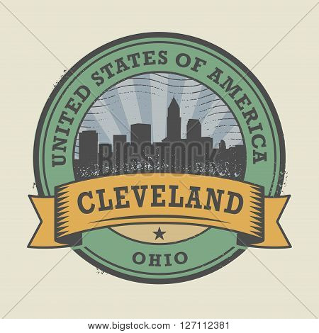 Grunge rubber stamp or label with name of Cleveland, Ohio, vector illustration