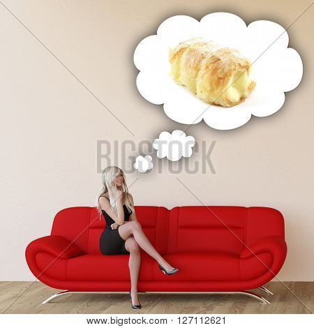 Woman Craving Pastries and Thinking About Eating Food 3D Illustration Render
