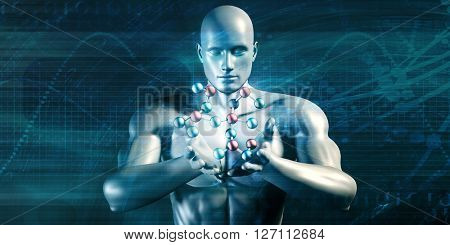 Scientist Performing Research and Experimenting with Science Molecule 3D Illustration Render