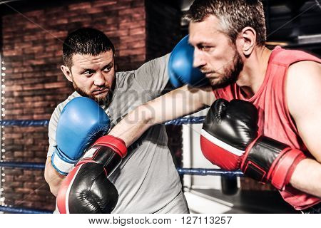 Two athletes boxers sparred in the ring. Kicking and blocking the hit. One athlete in blue boxing gloves, the second in a red sports uniform.