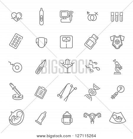 Childbirth and motherhood outline  vector icons set