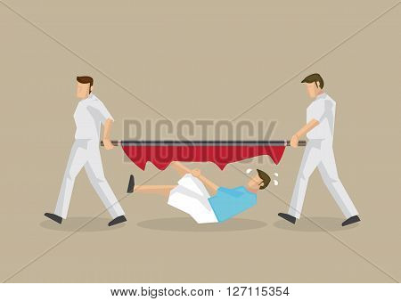 Unfortunate man falls through a broken stretcher carried by two paramedic. Vector cartoon illustration on unfortunate emergency medical services disaster isolated on plain background.