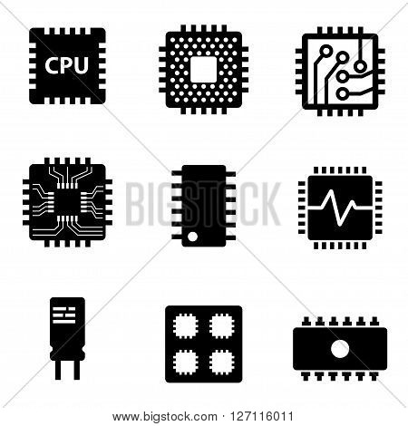 Vector black CPU microprocessor and chips icons set. Electronic chip icons on white background