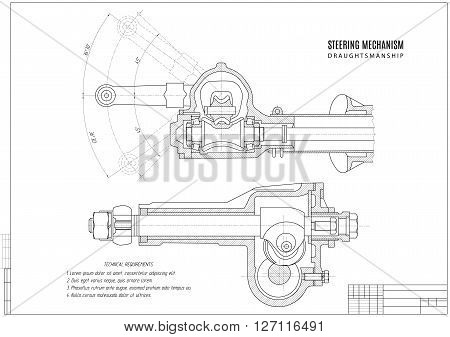 technical drawing steering mechanism construction draft with horizontal frame on the white background. stock vector illustration eps10