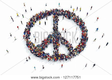 3D rendering of people forms peace symbol