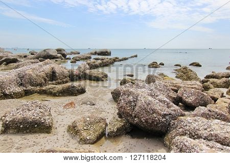 Huahin beach sky background in Phetchaburi province Thailand