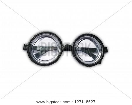 Funny toy short-sighted glasses with heavy scratching isolated on white