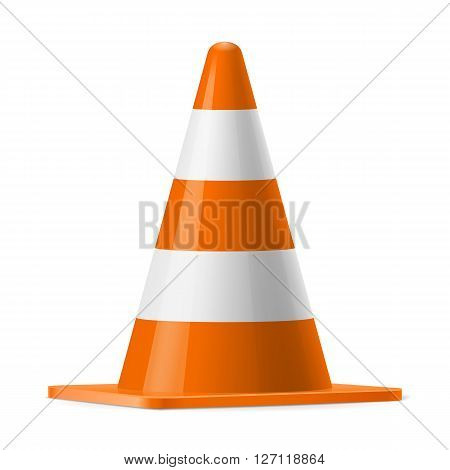 White and orange traffic cone. Sign used for road safey during construction or accidents