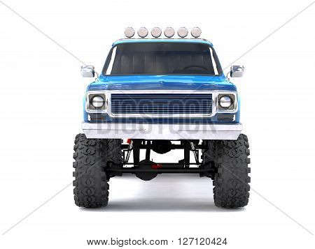 A large blue pickup truck off-road. Full off-road training. Highly raised suspension. Huge wheels with large spikes for rocks and mud. 3D Rendering