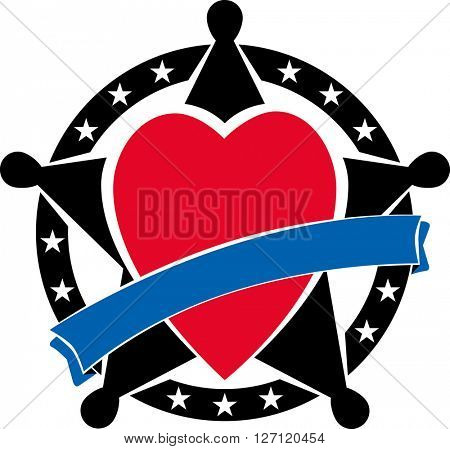 Sherifs badge with heart and blue ribbon over it. Vector illustration