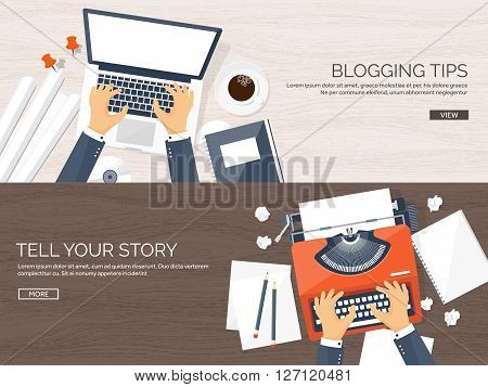 Vector illustration.  Flat typewriter.Laptop with hands. Tell your story. Author. Blogging.Wooden texture, wood.