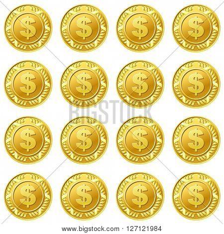 Golden dollar coins seamless pattern background 10eps