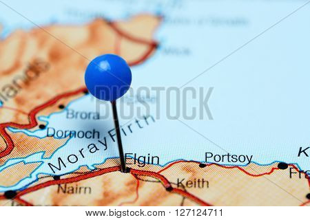 Elgin pinned on a map of Scotland