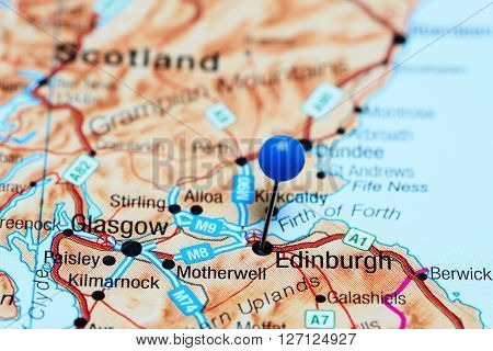 Edinburgh pinned on a map of Scotland