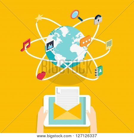 Marceting Concept Of Running Email Campaign, Email Advertising, Direct Digital Marketing.social Medi
