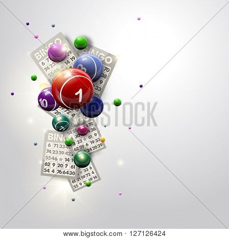 Bingo Balls and Cards Design on a Glowing White Background. Abstract bingo balls and cards vector illustration background for casino designs.