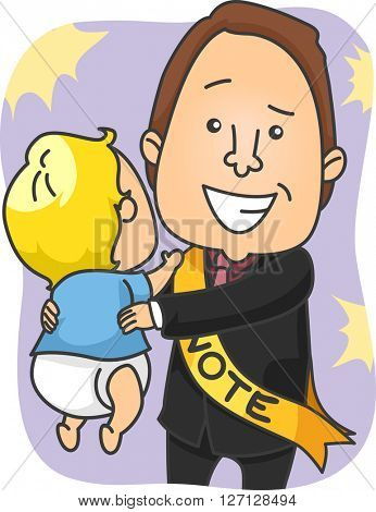 Illustration of a Male Political Candidate Lifting a Baby