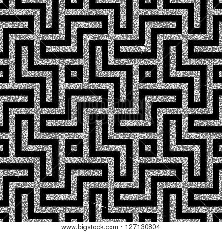 Seamless background from an oriental silver swastika ornament. Fashionable modern wallpaper or textile