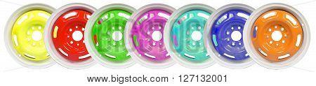 Powder coating of colour wheel disks on white background