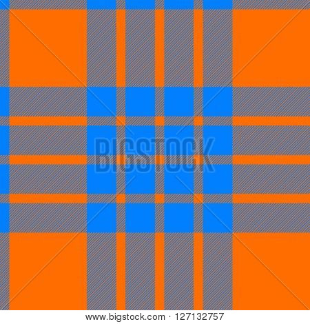 clan cameron tartan seamless background orange and blue vector illustration