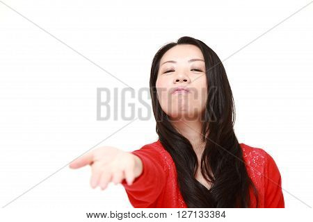 angry Japanese woman requests something on white background