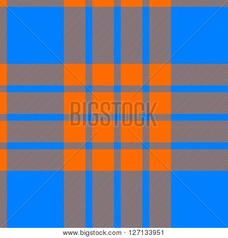 clan tartan seamless background orange and blue vector illustration