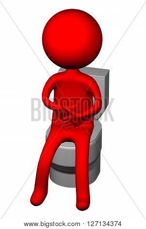 3d Man on the toilet seat isolated on white background. 3D rendering.