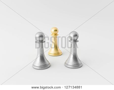 3d chess figure in gold and silver
