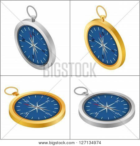 Compass on the white background. Set compass isometric. Golden compass. Silver compass.