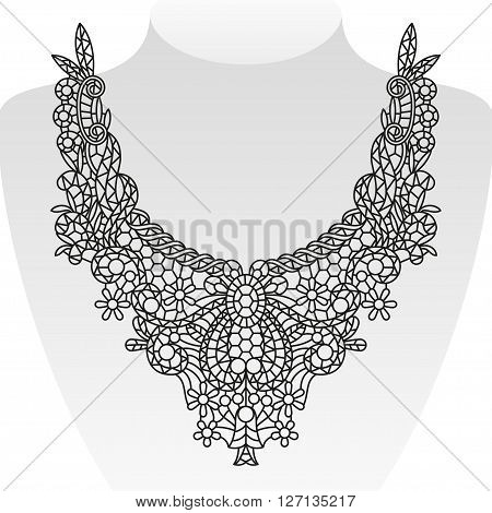 Ornate neck design. Elegant collar. Vector illustration