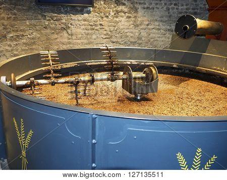grain stirring machine in whisky distillery Dublin Ireland