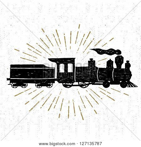 Hand drawn textured vintage icon with steam train vector illustration.
