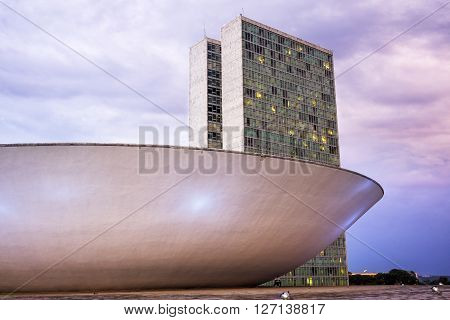 Brasilia, Brazil - November 19, 2015: National Congress building, the legislative body of Brazil's federal government in Brasilia, capital of Brazil.