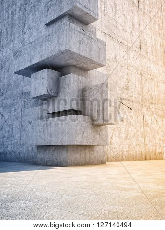 Architectural design of abstract concrete building with elements of cubes. 3D illustration.