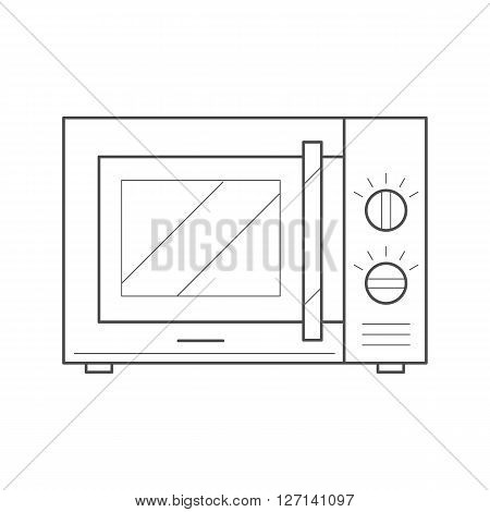 Microwave oven icon. Thin line microwave icon. Kitchen appliance vector icon