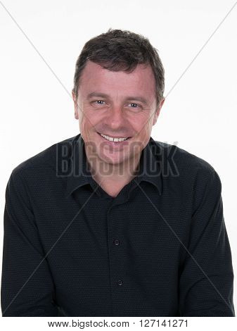 Portrait Of Happy Smiling Man, Isolated On White